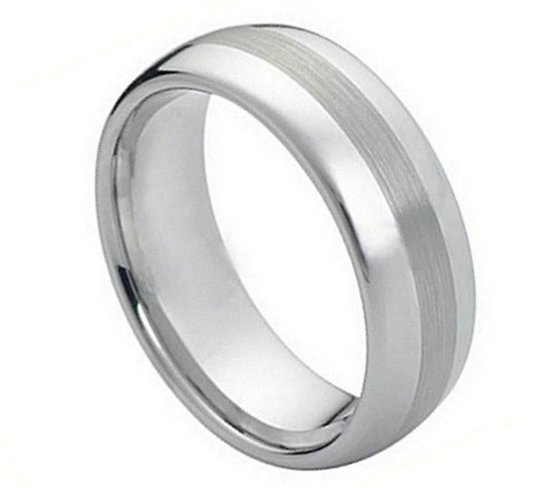 8mm Shiny Dome Wedding Ring with Brushed Center