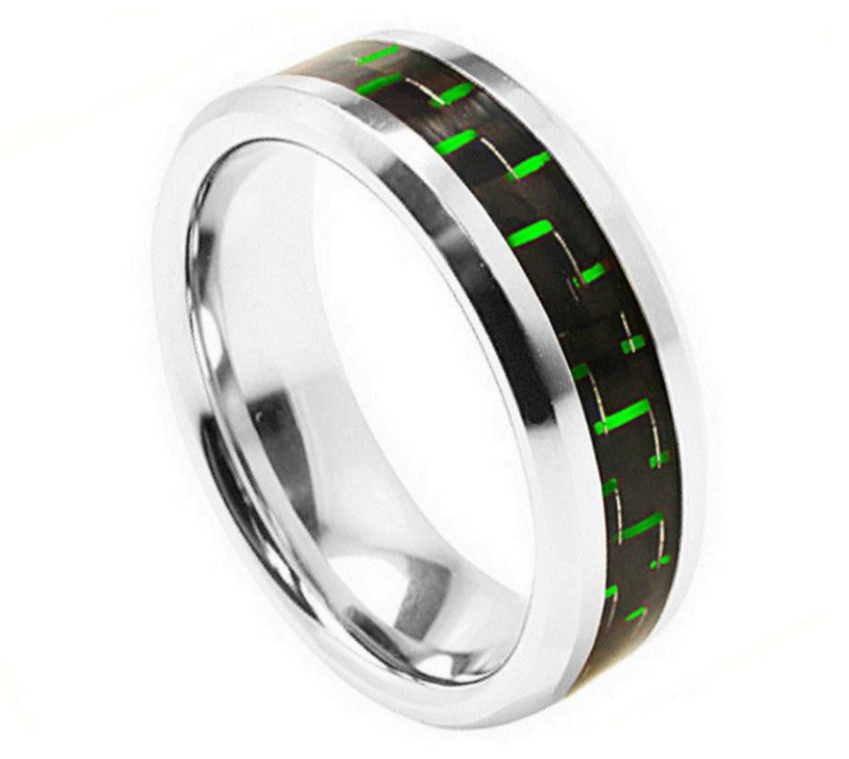 8mm High Polished Beveled Edge with Green Carbon Fiber Inlay Cobalt Ring