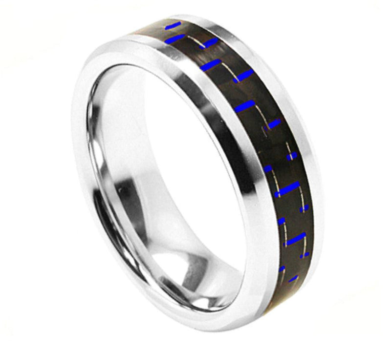 8mm Blue Carbon Fiber Inlay Dome Wedding Ring with High Polished Beveled Edge
