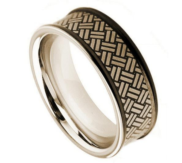 8mm Laser Engraved Weave Pattern on Black Enamel Plated Matte Finish Cobalt Ring