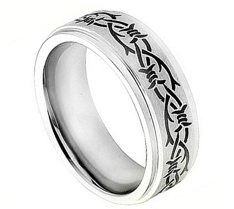 8mm Laser Engraved Barbed Wire Design with Stepped High Polished Edge Cobalt Ring