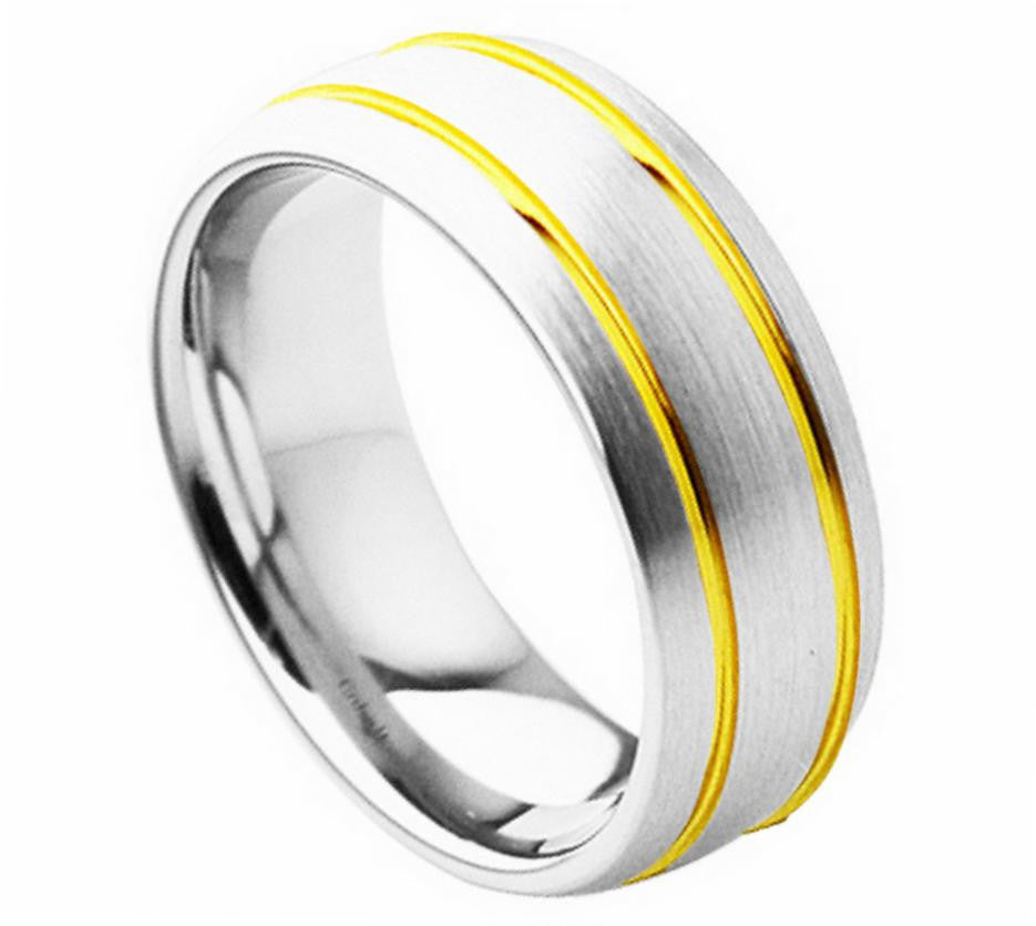 8mm Yellow Gold Plated Double Grooved with High Polished Brushed Finish Cobalt Ring