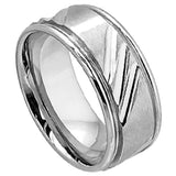 9mm Multiple 3-Diagonal Notches Cobalt Ring with Shiny Grooved Edge