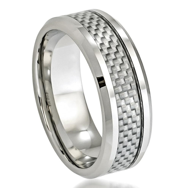 8mm Grey Carbon Fiber Inlay Cobalt Ring with Beveled Edge