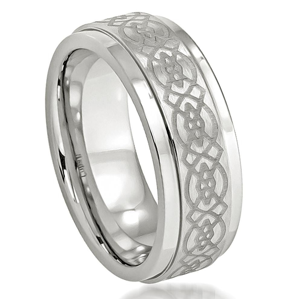 8mm Cobalt Ring with Laser Engraved Celtic Design