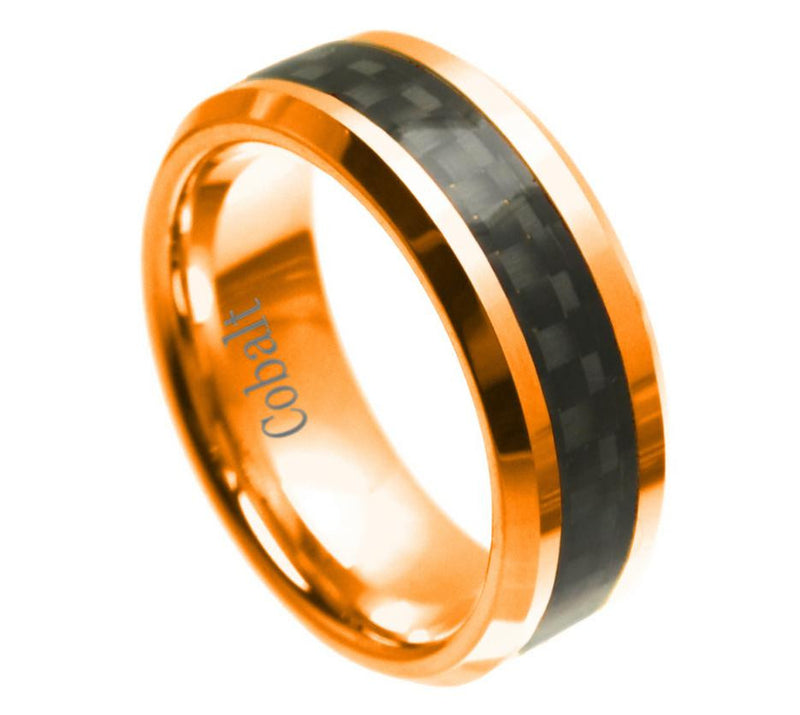 8mm Gold Plated Cobalt Ring with Black Carbon Fiber Inlay