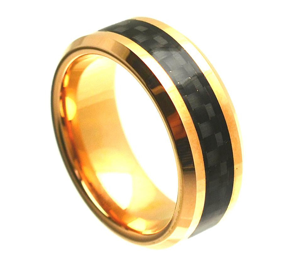8mm Yellow Gold Plated Cobalt Ring with Black Carbon Fiber Inlay