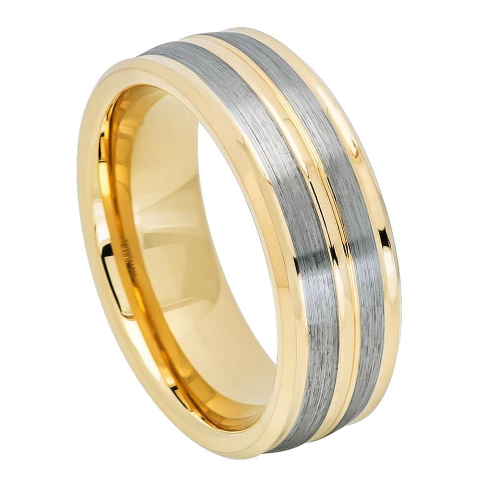 Yellow and Silver Mix Tungsten Ring