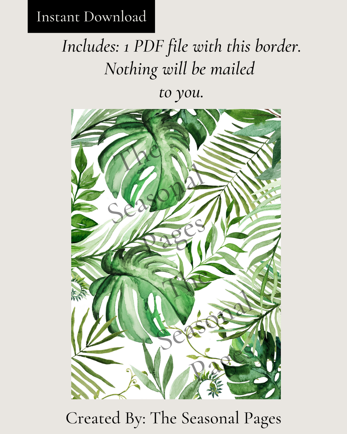 Printable Palm Leaves Stationery