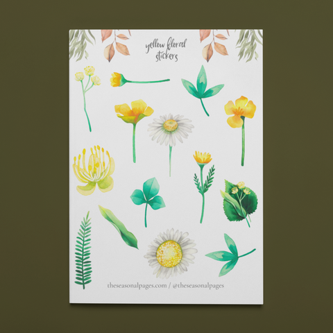 Printable Yellow Flower Sticker Set