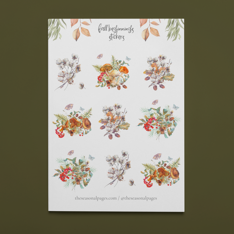 Fall Beginnings Printable Sticker Set
