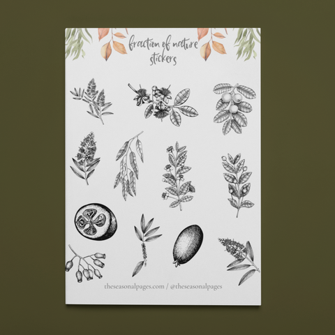 Printable Fraction Of Nature Sticker Set