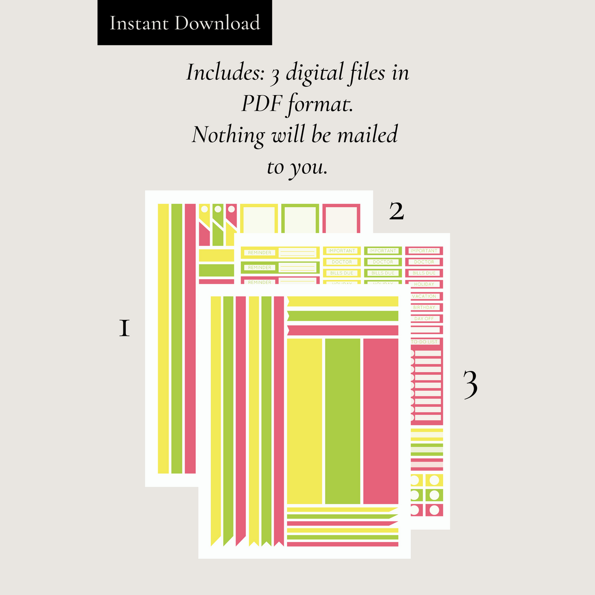 Printable Summer Vibes Planner Sticker Set