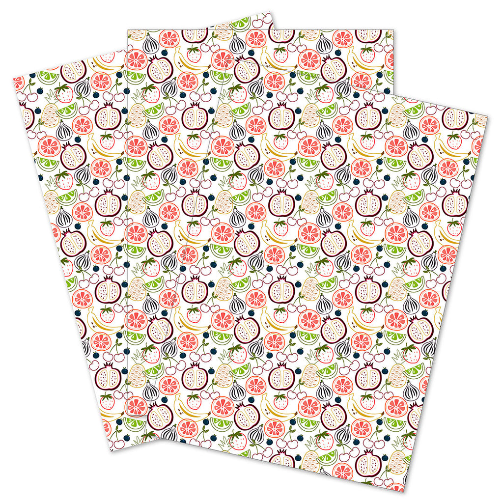 WhimWham,LLC Fruit Frenzy Outlines Gift Wrap Set