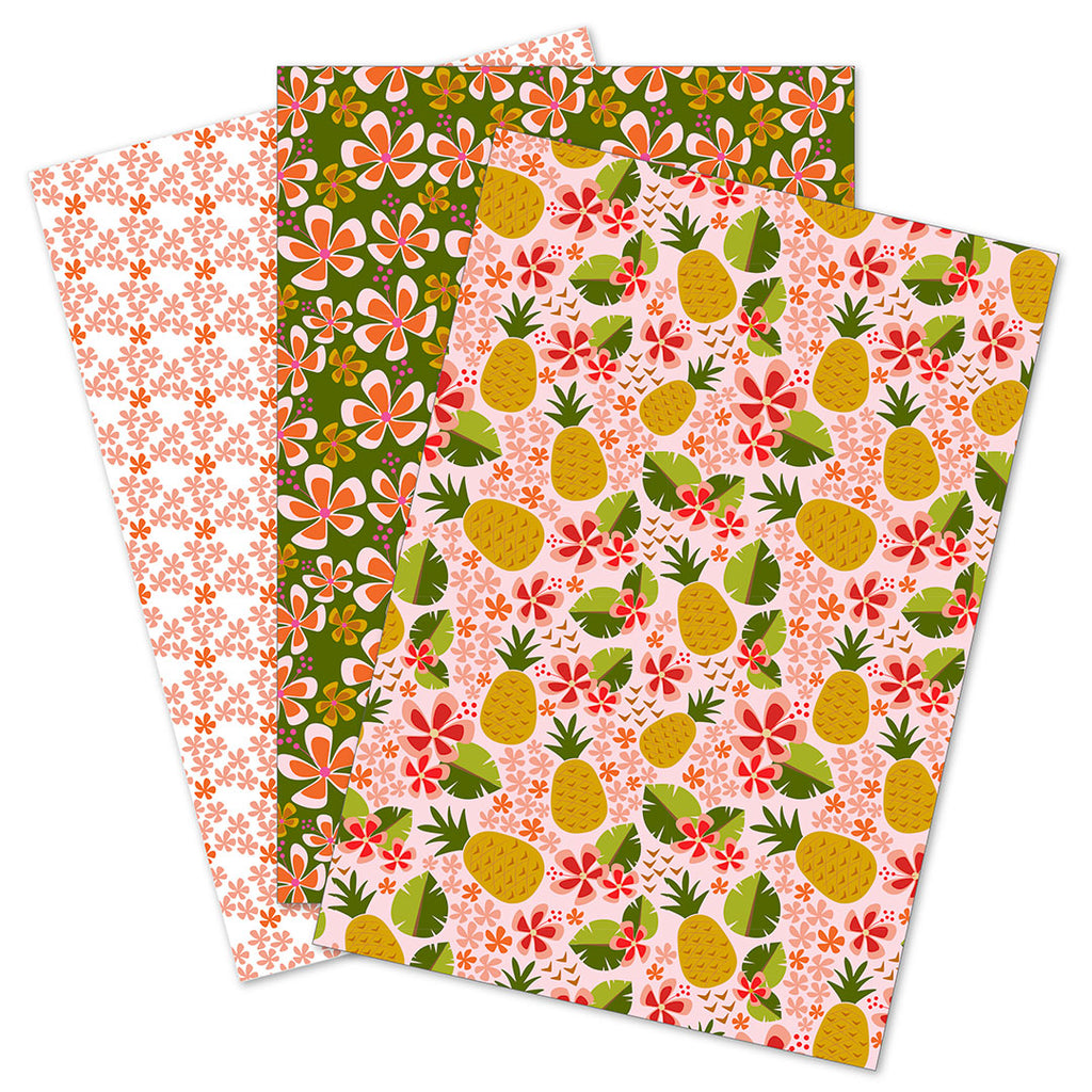 WhimWham,LLC Pineapple Party Coordinated Gift Wrap Set