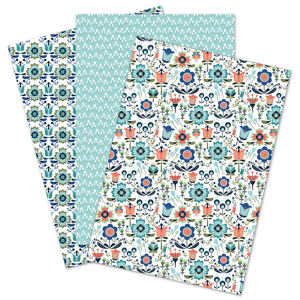 WhimWham,LLC Scandi Floral Coordinated Gift Wrap Set