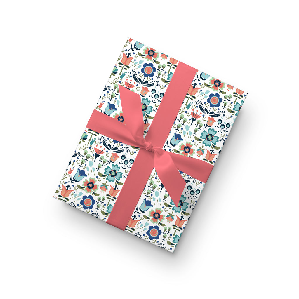 Scandi Floral Gift Wrap by whimwham-studio.com