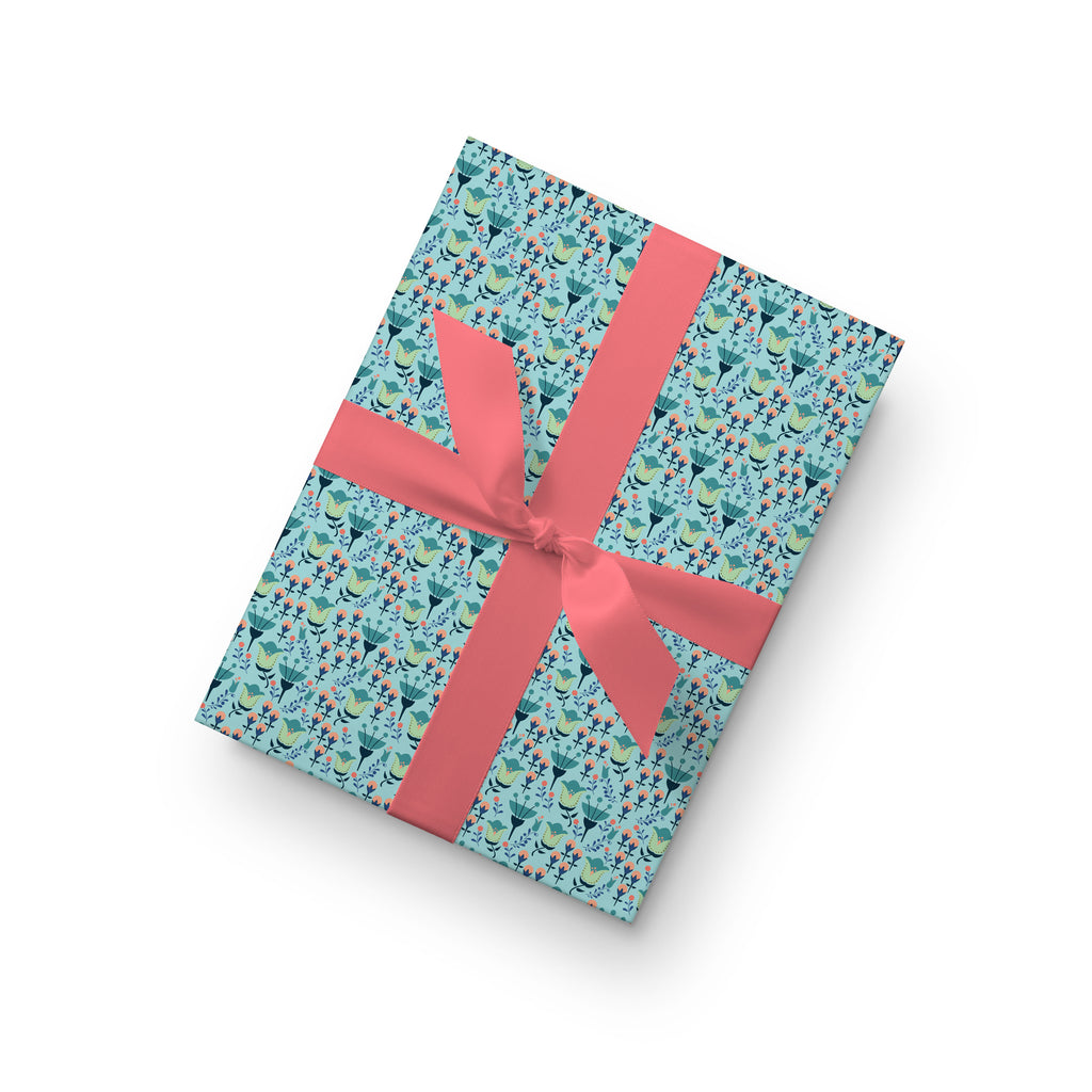 Poppy Field Gift Wrap by whimwham-studio.com