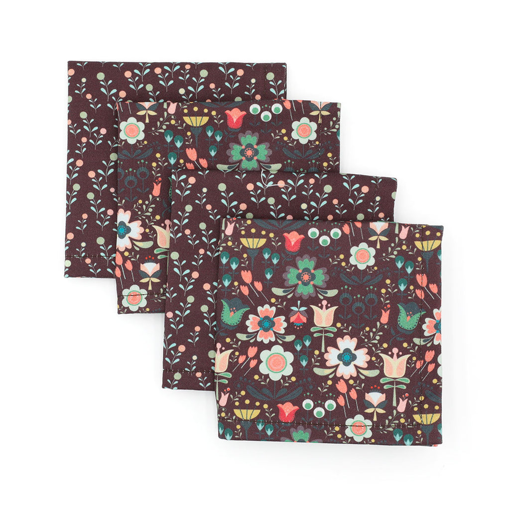 Scandi Floral Cocktail Napkins By WhimWham