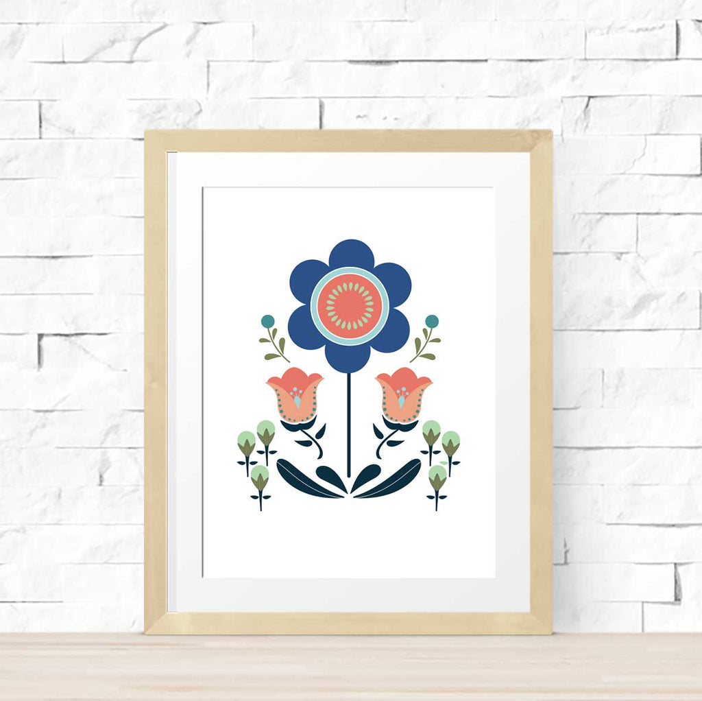 WhimWham,LLC Scandi Floral Sunflower Art Print 8 x 10