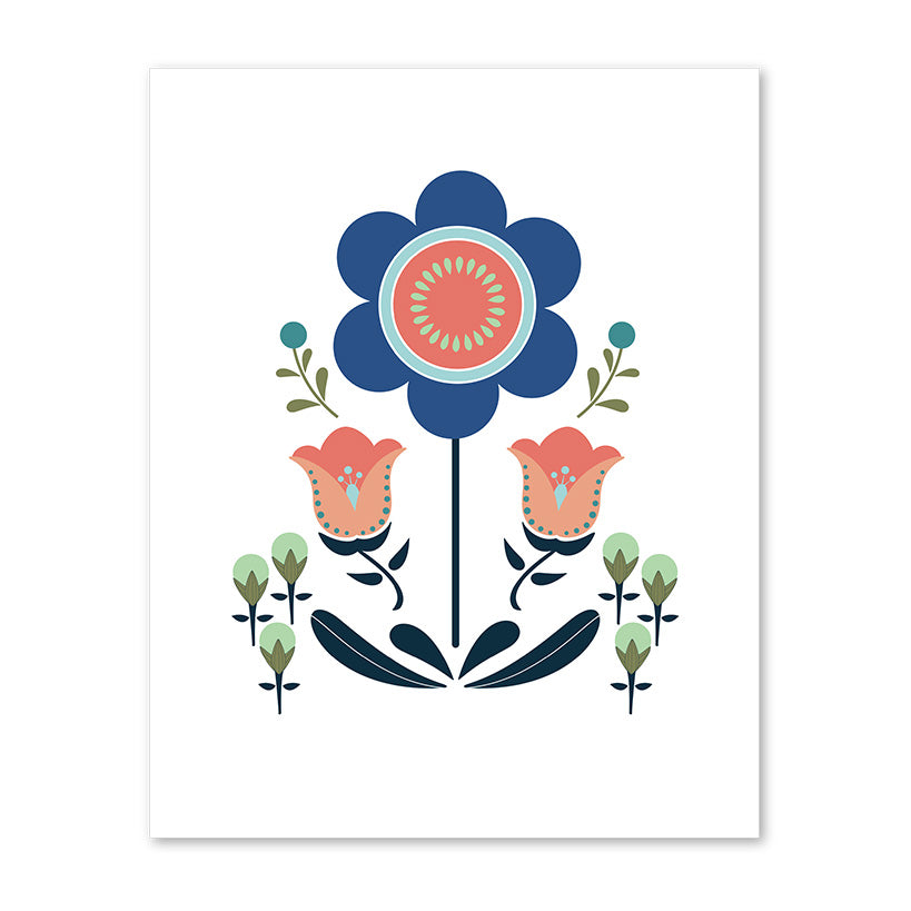 Scandi Floral Sunflower Art Print by whimwham-studio.com