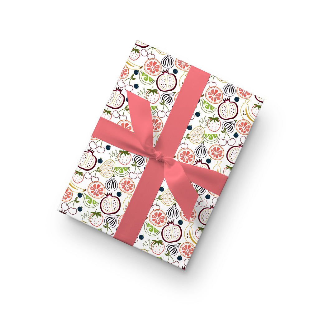 Fruit Frenzy Outlines Gift Wrap by whimwham-studio.com