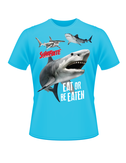 Sharkbite Eat or Be Eaten T-Shirt Heathered, Carolina Blue