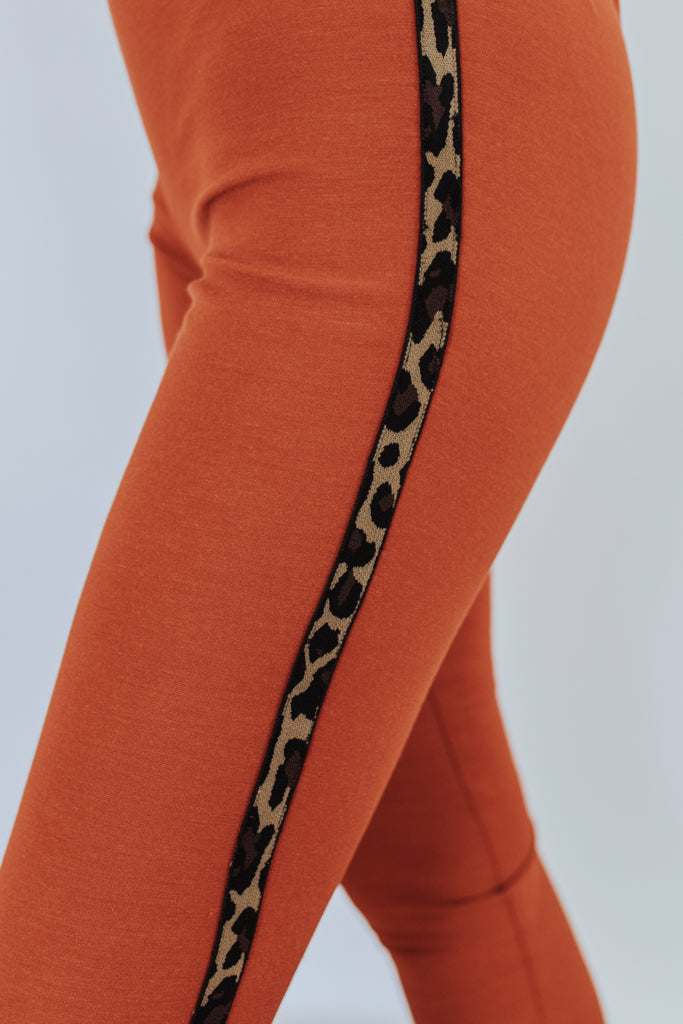 The Peyton Leopard Tuxedo Striped Pants - Burnt Orange