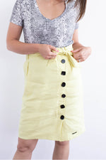 Karla Button Down Pencil Skirt - Yellow Pear