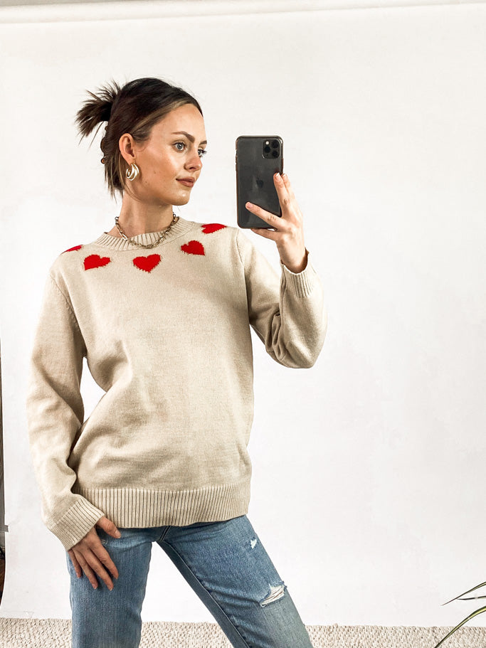 Cupid Heart Print Sweater - Oatmeal