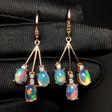 Opal sterlings silver dangle earrings