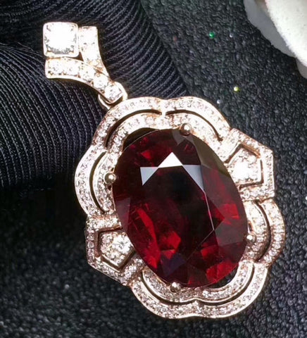 Fashion natural oval cut red garnet sterling silver necklace