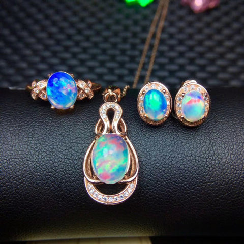 Natural sterling silver fashion opal sets