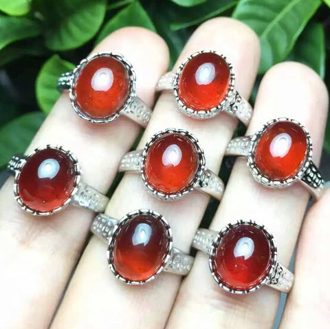 Fashion huge garnet silver birthstone adjustable ring - MOWTE