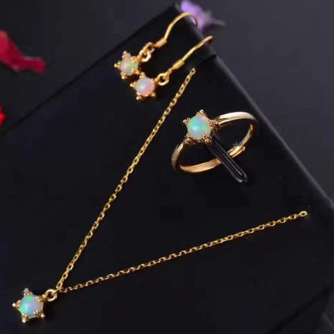 Natural opal stars sterling silver jewelry sets - MOWTE