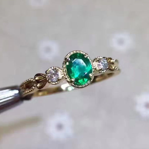 Natural silver green emerald ring