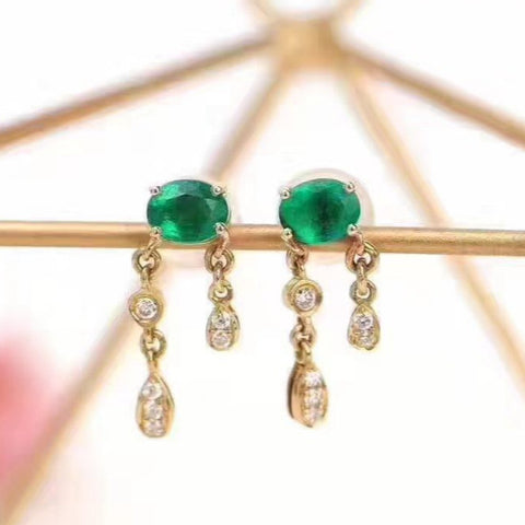 Fashion luxury natural silver green emerald studs