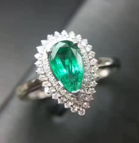 Natural silver pear cut emerald ring