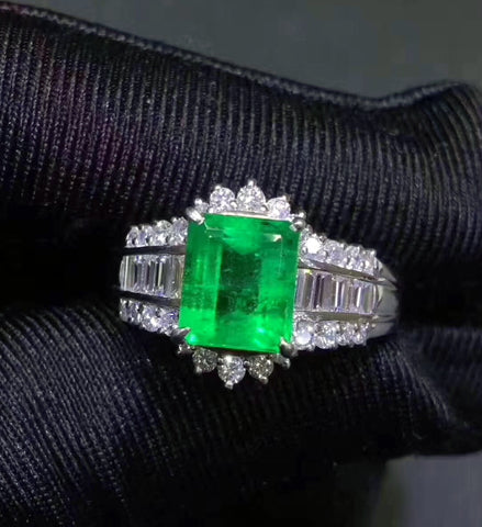 Natural silver emerald ring - MOWTE