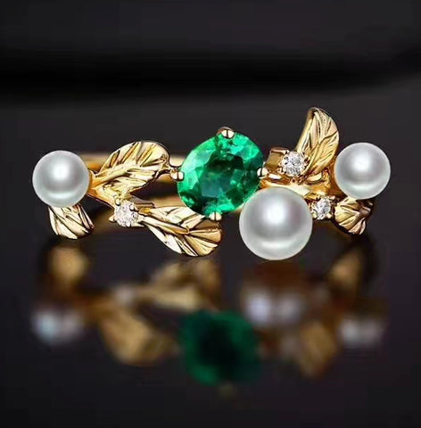 Natural silver emerald pearl ring