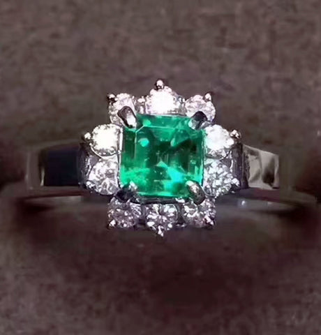 Natural silver emerald ring