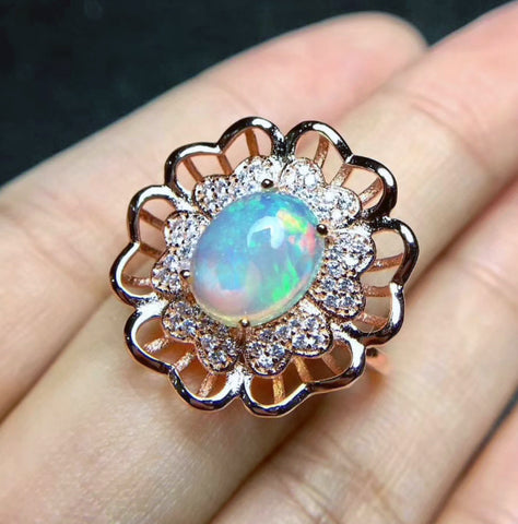Opal sterling silver free size ring