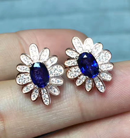 Sapphire sterling silver studs