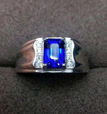 Genuine sapphire silver free size ring