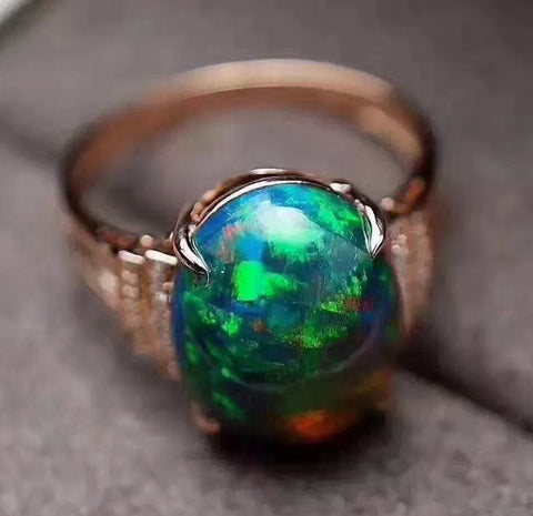 Black opal sterling silver free size ring