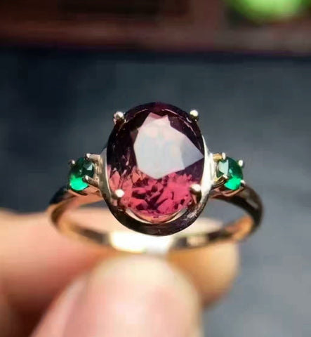 Garnet silver birthstone adjustable ring - MOWTE