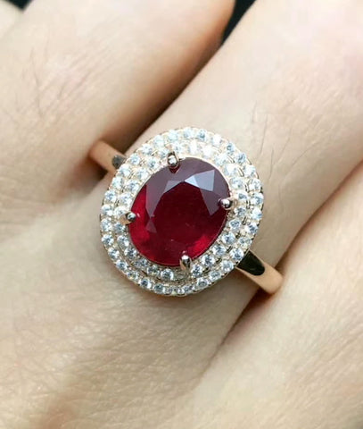 Ruby oval cut silver free size ring - MOWTE