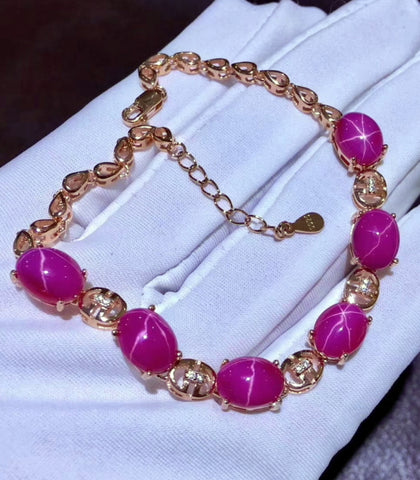 Natural ray ruby sterling silver bracelet