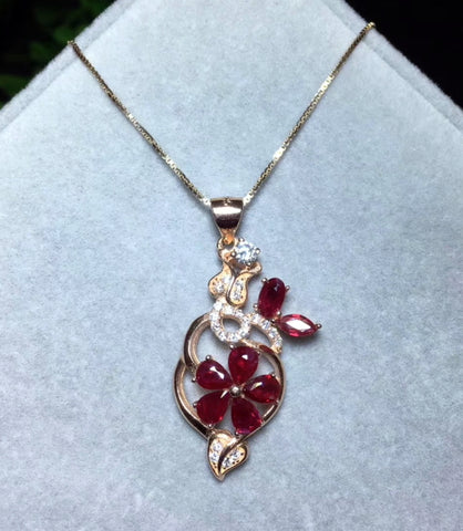 Natural ruby sterling silver necklace - MOWTE