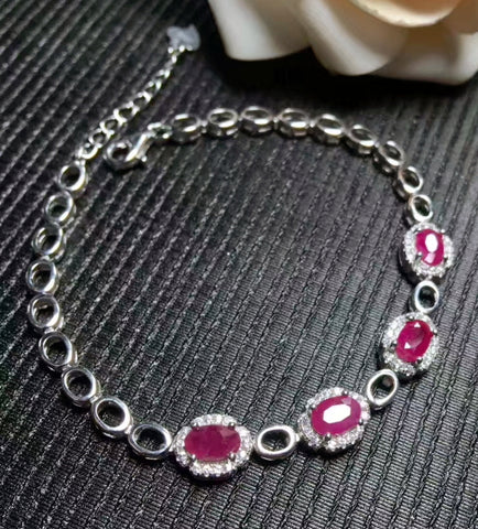 Natural ruby sterling silver bracelet - MOWTE